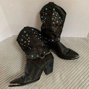 Dingo Embellished Studded Cowboy Boots Size 6M
